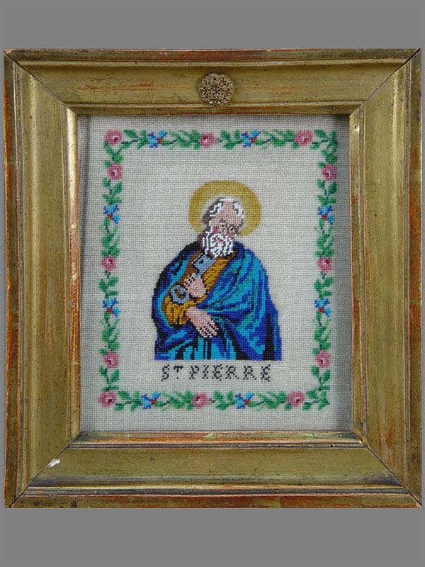 «Святой Апостол Петр», вышивка бисером, XIXвек, 19×17см