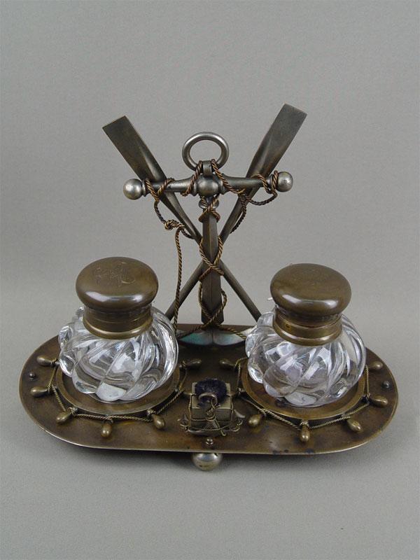 Письменный прибор «Морской», бронза, хрусталь, начало XXвека, длина— 32см