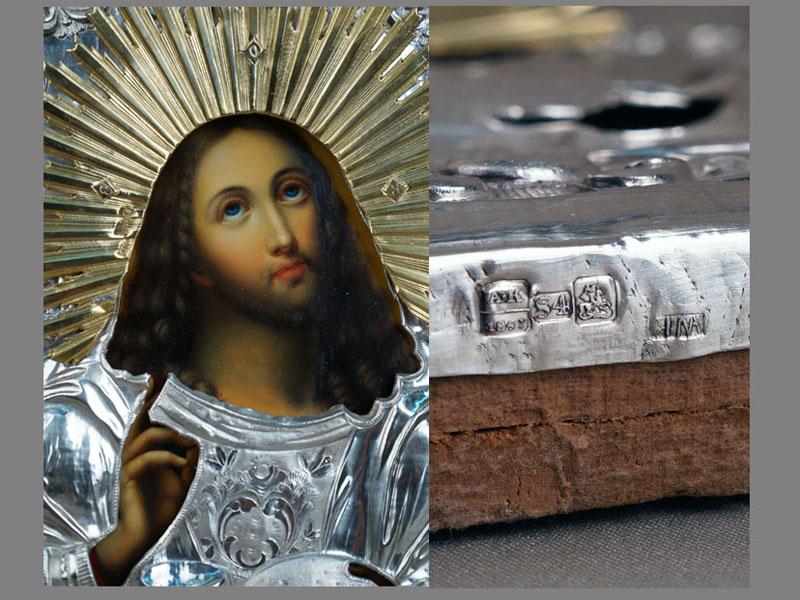 Икона «Спаситель, благословляющий хлеб ивино», дерево, масло, оклад серебро 84пробы, Москва, 1847год, 31×26см, киот