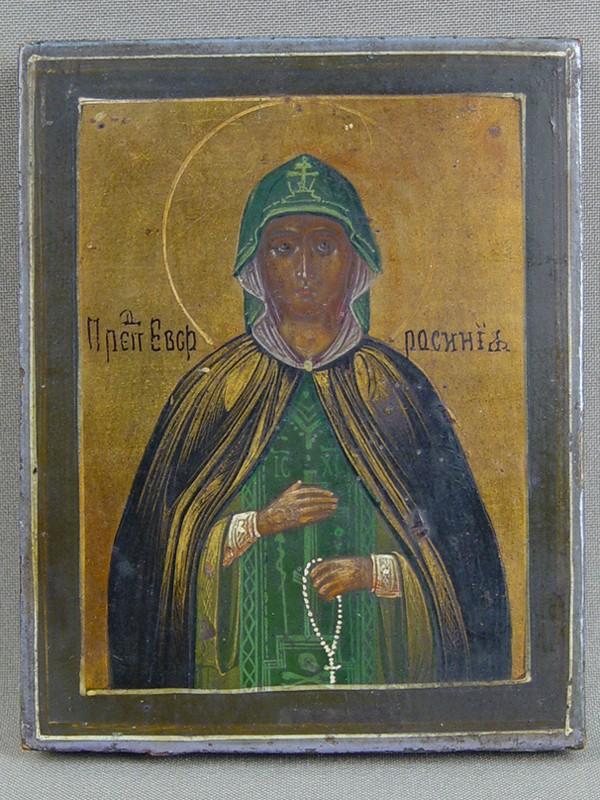 Икона «Святая Преподобная Ефросиния», дерево, левкас, темпера, 11,5×9см, XIXвек