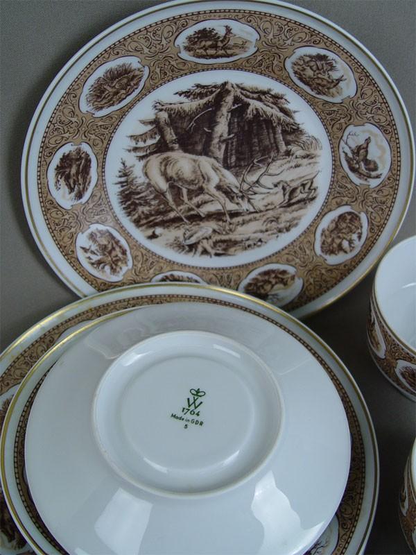Чайный набор «Охота» на4персоны (4чайные пары и4тарелки), фарфор, деколь. Германия, середина XXвека