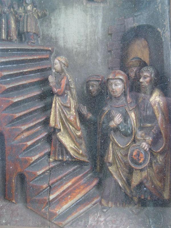 Барельеф вкиоте «Введение Богородицы во Храм», дерево, левкас, роспись. Западная Европа, 44,5×29см