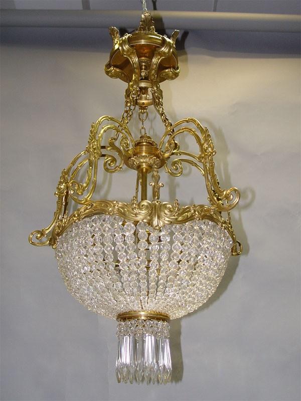 Антиквариат. старинная Люстра «Корзинка», бронза, хрусталь