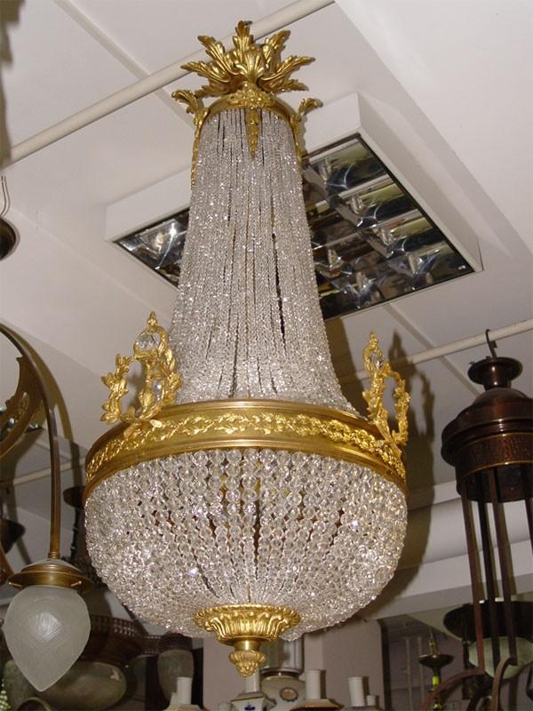 Антиквариат. антикварная Люстра «Груша», бронза, хрусталь