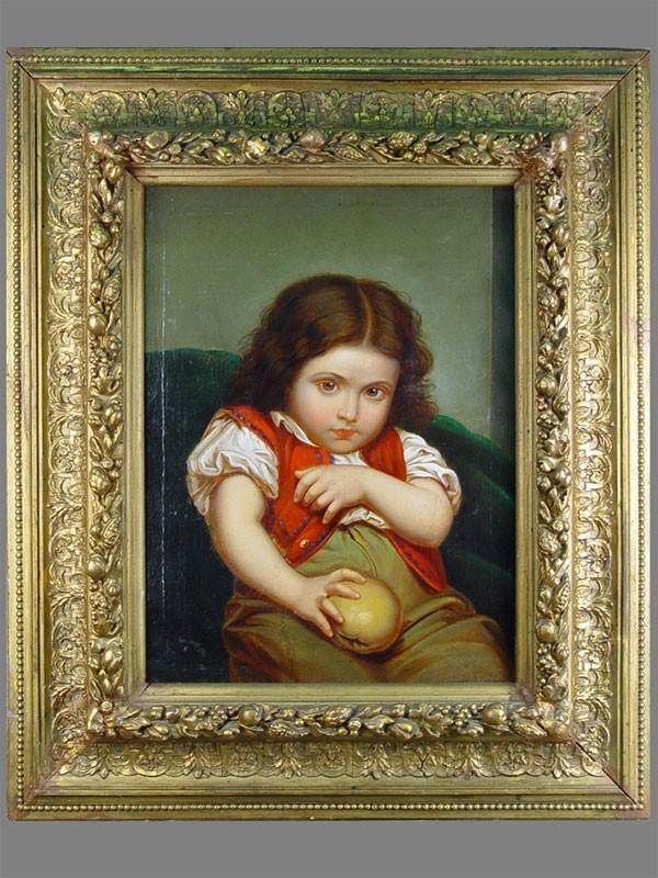 Антиквариат. старинная картина. антикварная живопись «Ребенок с яблоком»