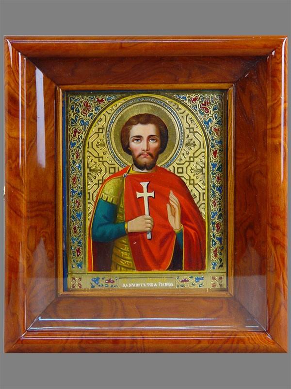 Икона «Святой Мученик Леонтий», дерево, масло, золочение, 22×18см; киот