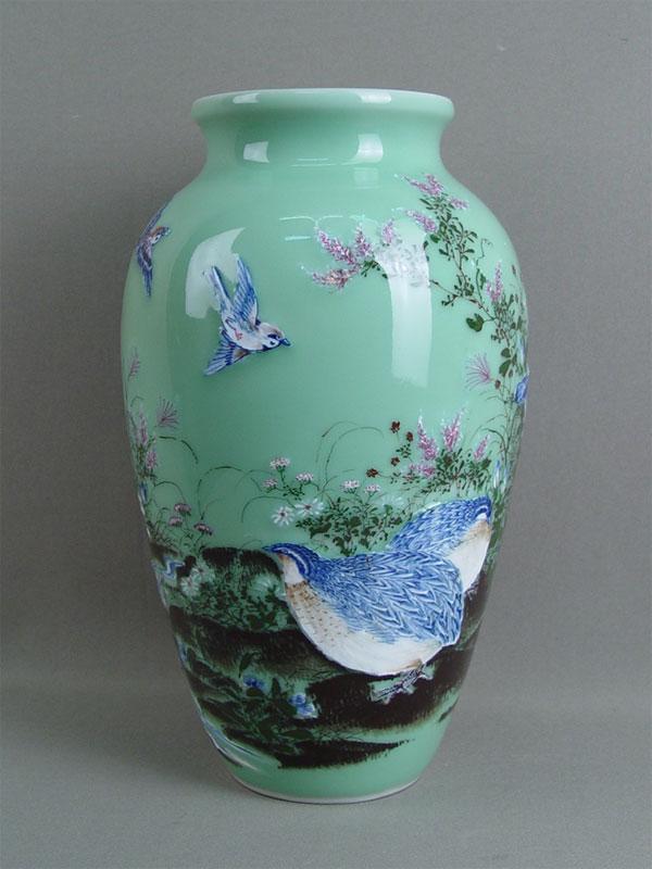 Антиквариат. Ваза «Цветы и птицы», Япония. японский фарфор