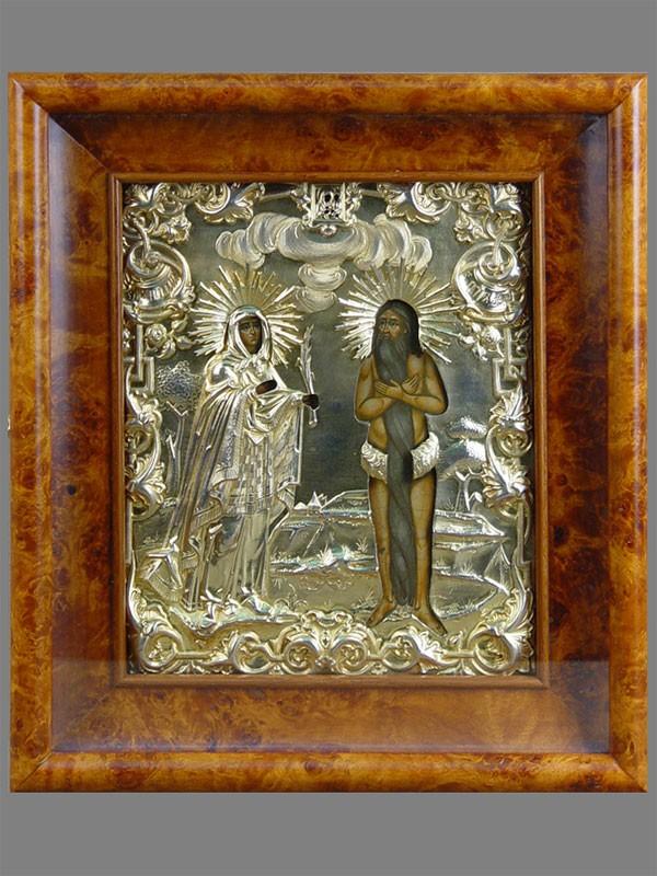 Икона «Святые Петр иНаталия», дерево, масло, оклад серебро 84пробы, XIXвек, 26×22см (живопись поновлена); киот