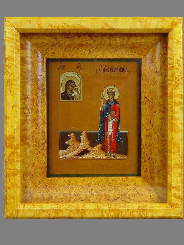 Икона «Святая Мученица Екатерина», дерево, левкас, темпера, XIXвек, мастер Фролов (?), 17,5×14см; киот