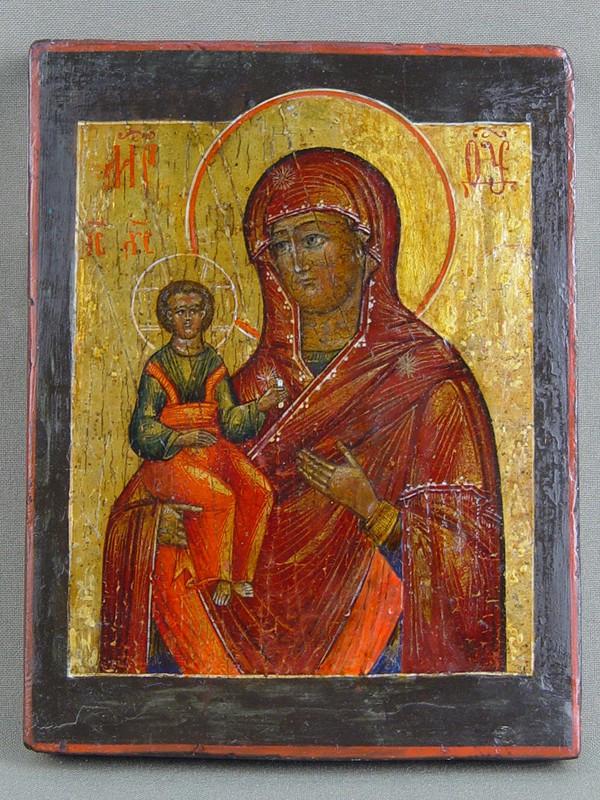 Икона «Пресвятая Богородица Одигитрия», дерево, левкас, темпера, конец XIXвека, 16×12см (реставрация)