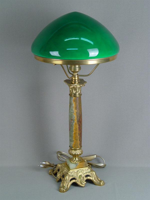 Антиквариат. Лампа с зеленым абажуром настольная, бронза, оникс