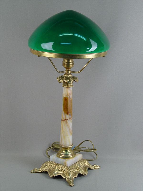 Лампа настольная, бронза, оникс, зеленое стекло, высота— 59см