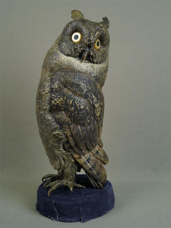 Антиквариат. Филин сыч сова, бронзовая скульптура