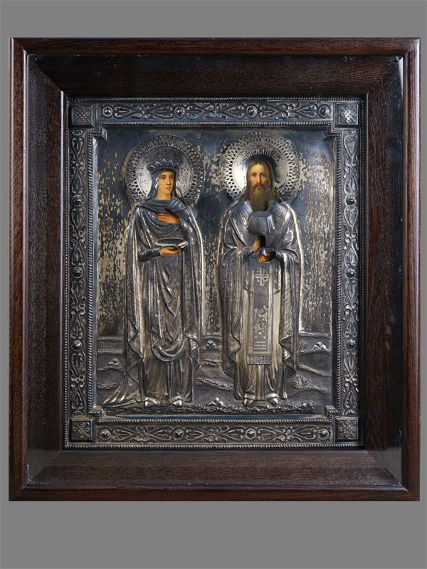 Антиквариат. Икона «Святые Царица Елена и Василий Великий»
