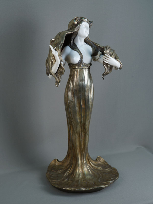 Антиквариат. «Девушка-Русалка», бронза, кость модерн