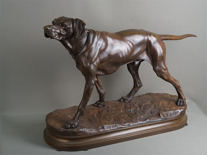 Антиквариат. «Пойнтер», бронзовая скульптура. собака охота