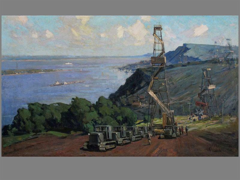 Фомичев В.О., «Буровые установки на Волге», холст, масло, 121 × 200см, 1961 год