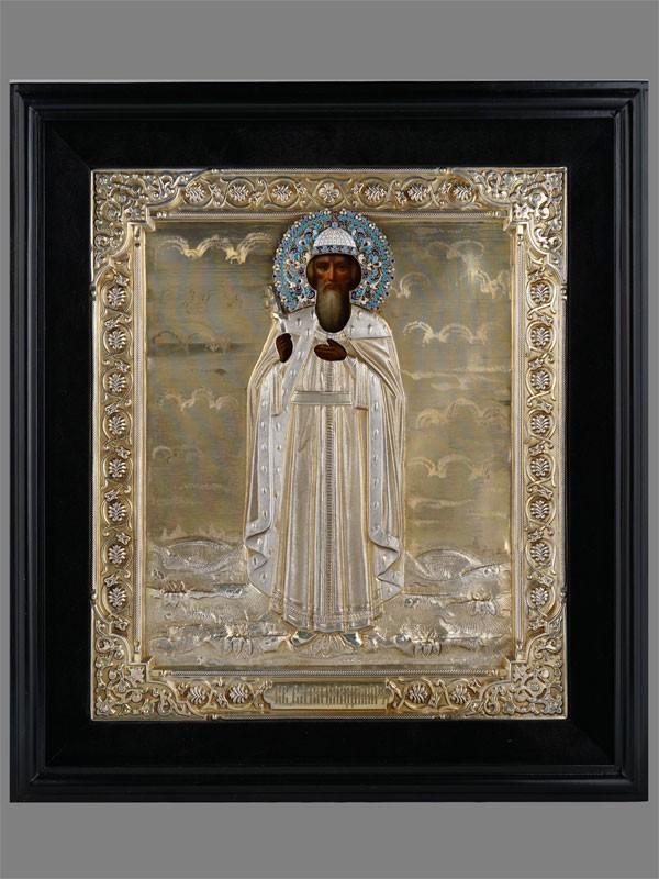 Антиквариат. Икона «Святой Равноапостольный Князь Владимир» серебро 84 пробы