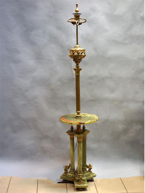 Торшер встиле историзм, оникс, бронза, конец XIXвека, высота— 187см, диаметр— 40см