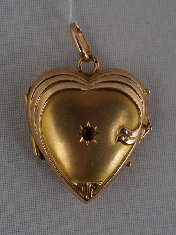 Антиквариат. Подвеска-медальон «Сердце», золото 56 пробы