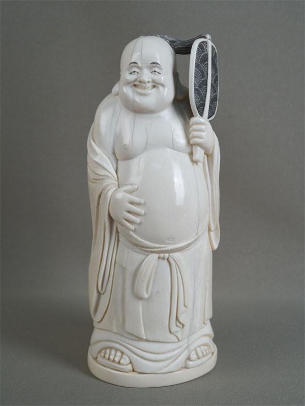 Антиквариат. Окимоно «Хоттей», кость. боги счастья