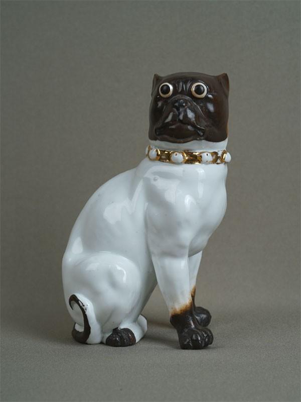 Антиквариат. «Мопс. собака», фарфор