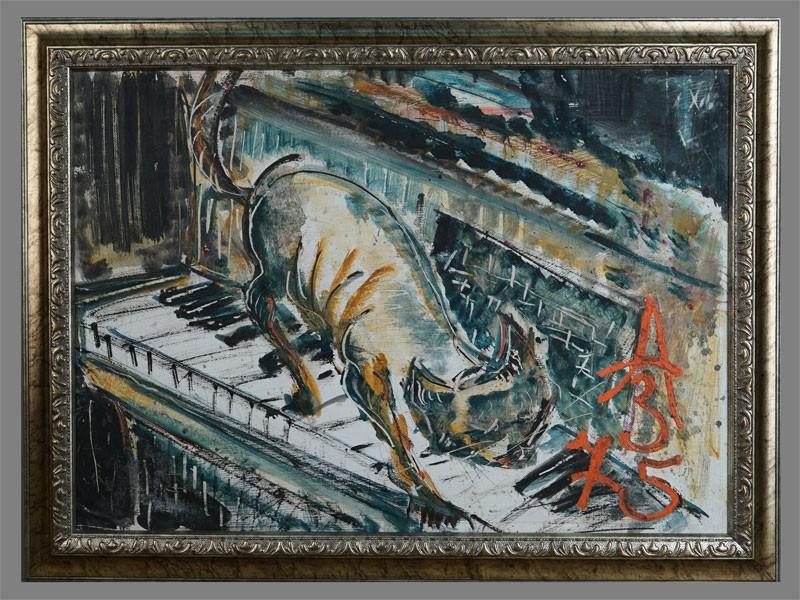 Антиквариат. А.Зверев «Кот и рояль». музыка. кошка