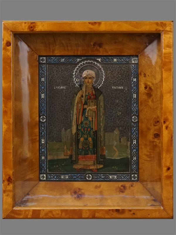 Икона «Святая Равноапостольная Княгиня Ольга», металл, печать, начало XXвека, 22×18см; киот