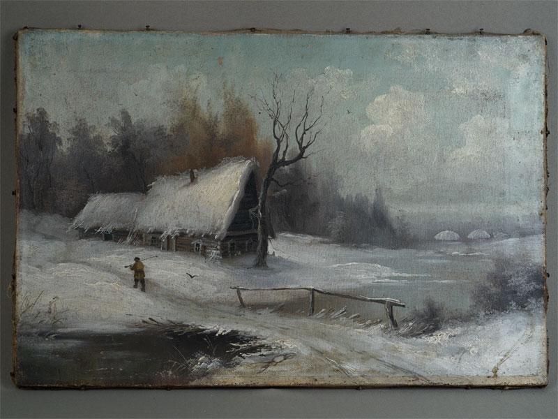 Антиквариат. старинная живопись Зимний пейзаж