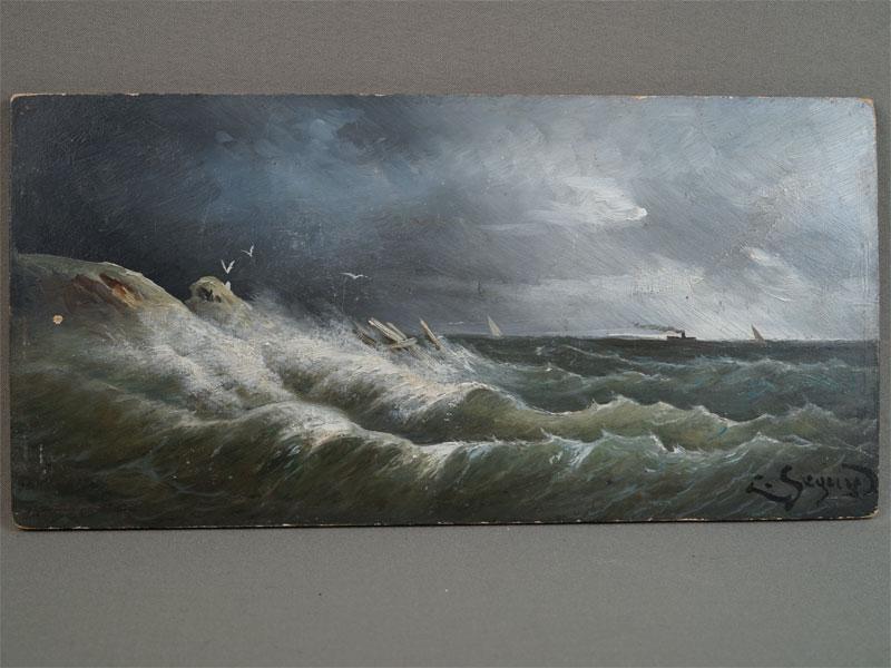 «Морской прибой», дерево, масло, XIXвек, 16×32см