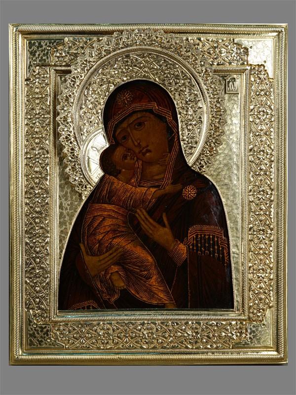 Икона «Пресвятая Богородица Владимирская», дерево, левкас, темпера; оклад серебро 84пробы, золочение, 31×27см; киот