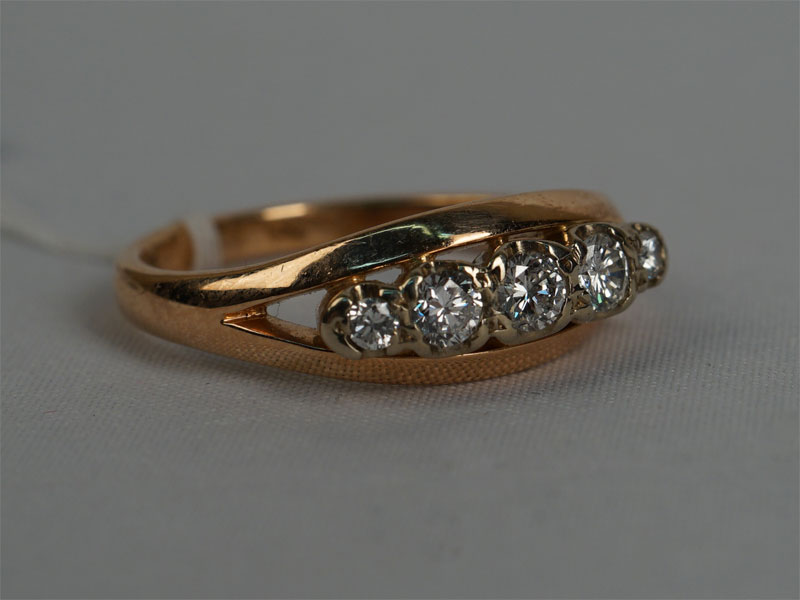 Антиквариат. Кольцо «Дорожка», золото 583 пробы, бриллиант
