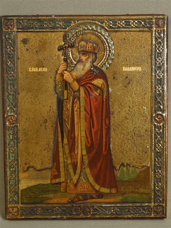 Антиквариат. Икона «Святой Равноапостольный Владимир»