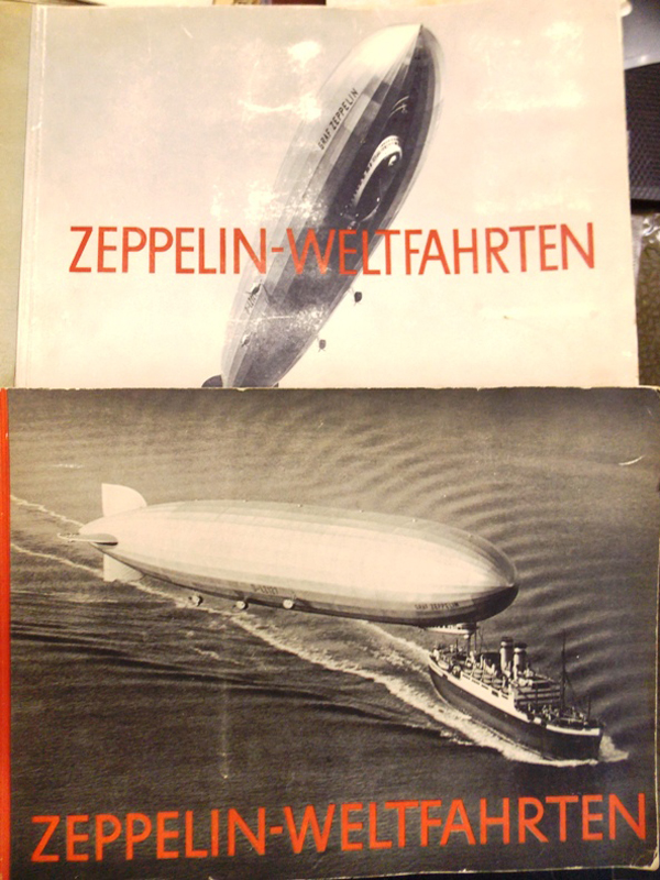 Zeppelin — Мир аттракционов — От первого воздушного судна 1899допоездок LZ 127Graf Zeppelin Greiling, 1932. — Берлин: Издание Сигаретной фабрики Greiling, 1932— 33гг. Вдвух выпусках.  <i>Твердый переплет.</i>