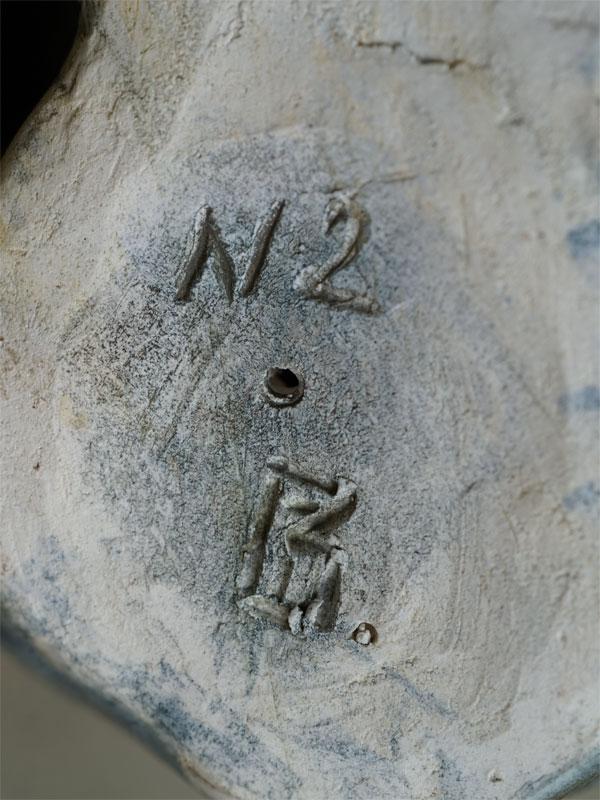 «Стаффордширский бультерьер», фаянс, роспись, автор В.Губина, высота— 8см
