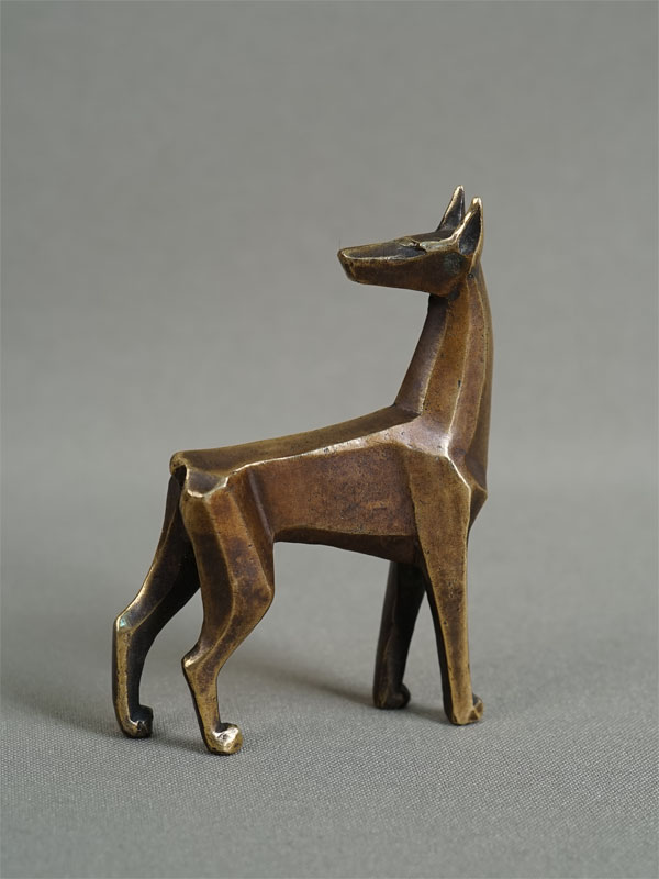 Антиквариат. «собака Доберман», бронза, В.Губина
