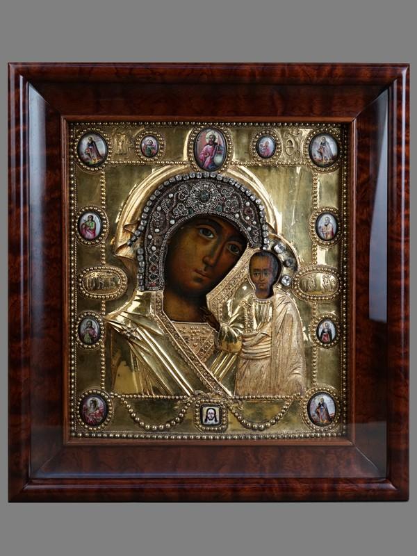 Антиквариат. Икона «Пресвятая Богородица Казанская» в серебряном окладе