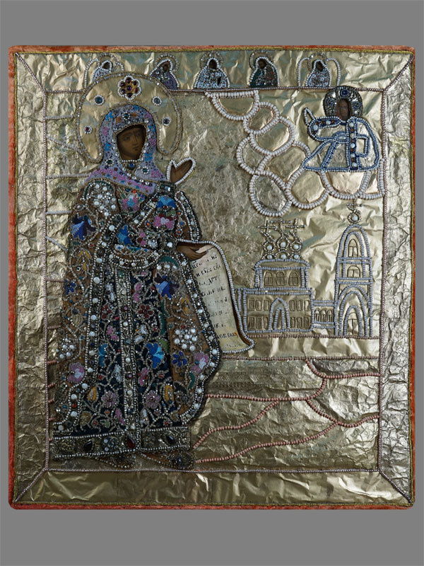 Икона «Пресвятая Богородица Боголюбская», дерево, левкас, темпера; оклад фольга, шитье, бисер, жемчуг, стразы; XVIIIвек, 55×46см (реставрация)