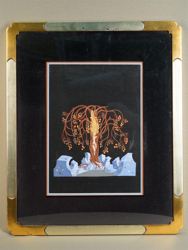 Erte, «Ева подрайским древом», бумага, смешанная техника, подпись, 36×26см