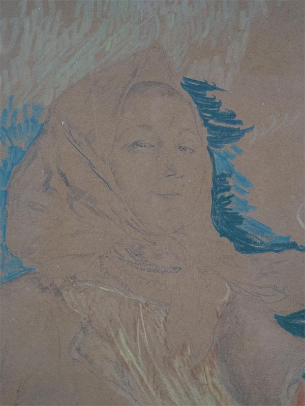 Малявин Ф.А. (1869-1940), «Улыбающаяся баба», бумага, графитный карандаш, восковые мелки, 42×27,2см, 1910-е годы. Атрибуция.