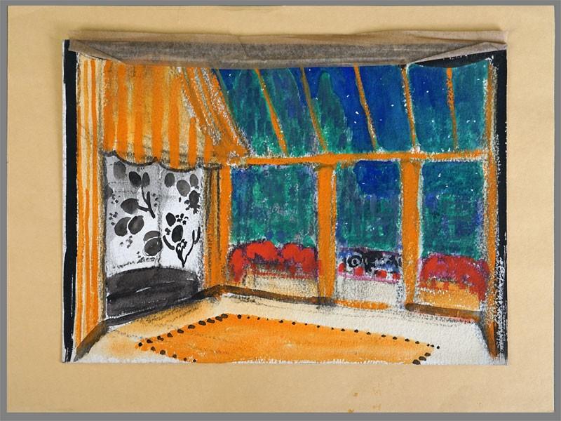 Анисфельд Б.И. (1878-1973), эскиз декорации «Шатер», бумага, угольный карандаш, гуашь, 23,7×32,5см, 1910-20-е годы. Атрибуция.