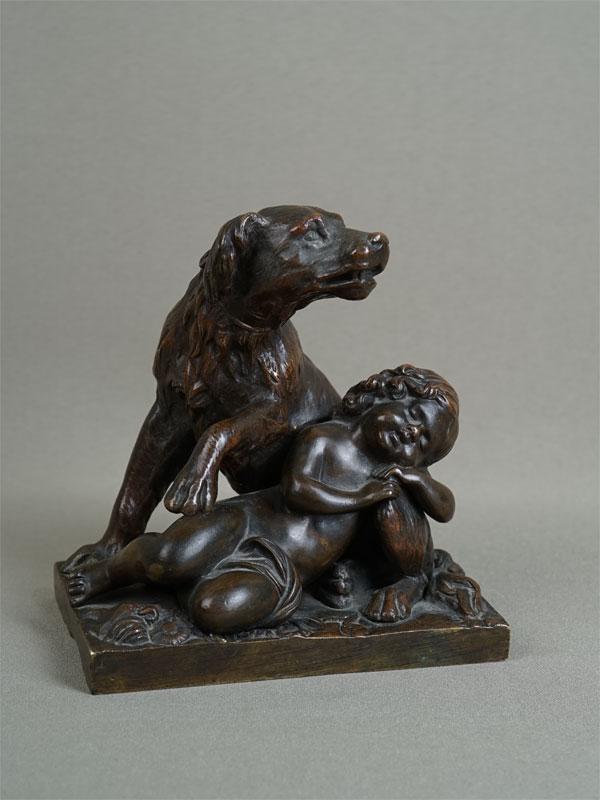 «Верный страж» («Собака иребенок»), бронза, литье, патинирование, 13×12,5см
