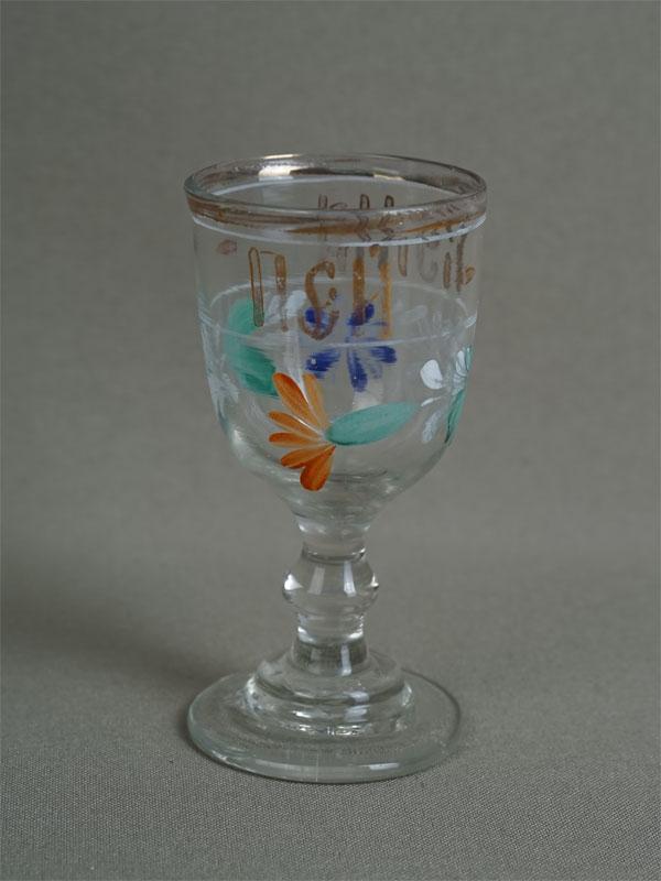 Антиквариат. Рюмка русский стиль «Пей, кума», старинное стекло