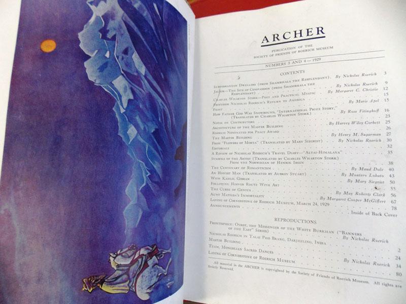 Стрелец: Публикации Общества друзей музея Рериха./ ARCHER: Society of Friends of Roerich Museum. No.3—4. 1929— New York: Society of Friends of Roerich Museum, 1929. — 88стр. <i>Редкость. Всего вышло три номера. No.1. March 24, 1927; No.2. January, 1928; No.3—4. 1929. Обложку рисовал Николай Рерих.<i>