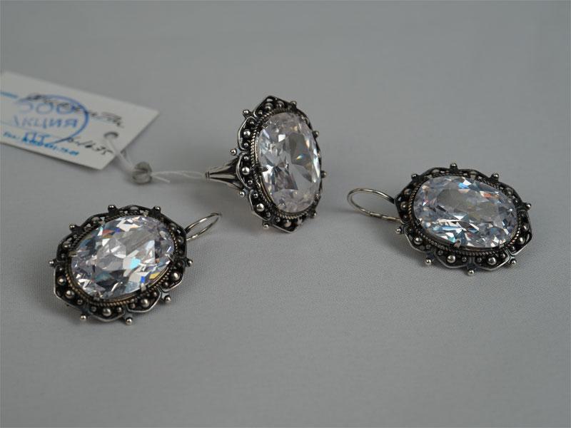 Комплект: серьги икольцо, серебро 925пробы, фианиты, общий вес— 27,78г. Размер кольца 16,5