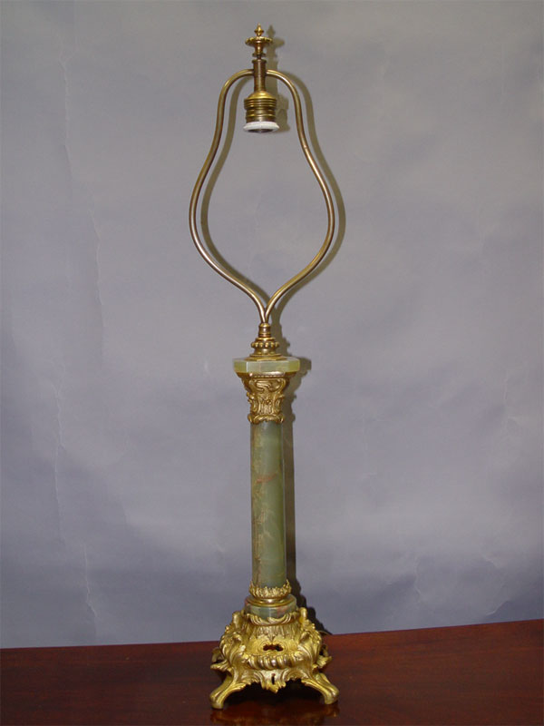 Лампа настольная, бронза, оникс, начало XXвека, высота— 75см