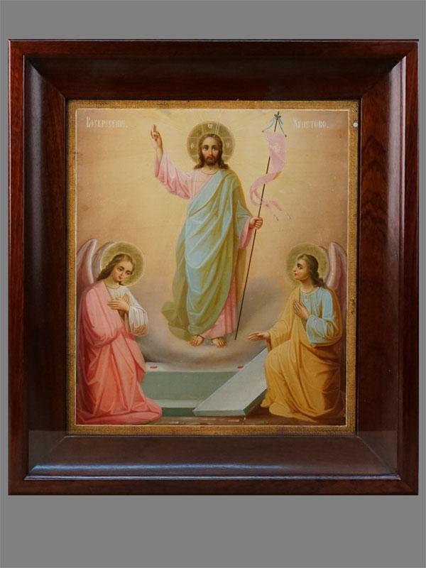 Икона «Воскресение Христово», дерево, масло, Афон, начало XXвека, 36×31см; киот