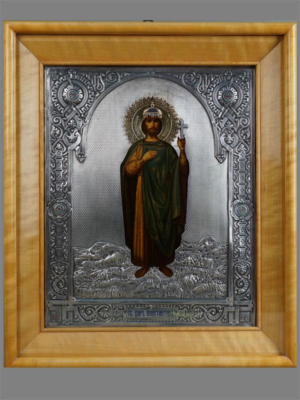 Икона «Святой Царь Константин», дерево, масло; оклад серебро 84пробы, эмаль; начало XXвека, 34×27см; киот