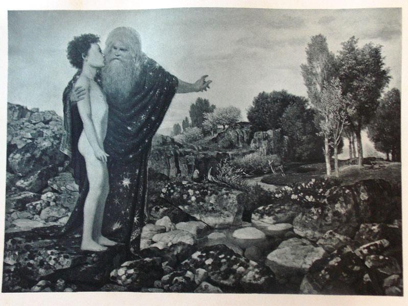 Антиквариат. Бёклин, Арнольд. Бог отпускает Адама в Рай