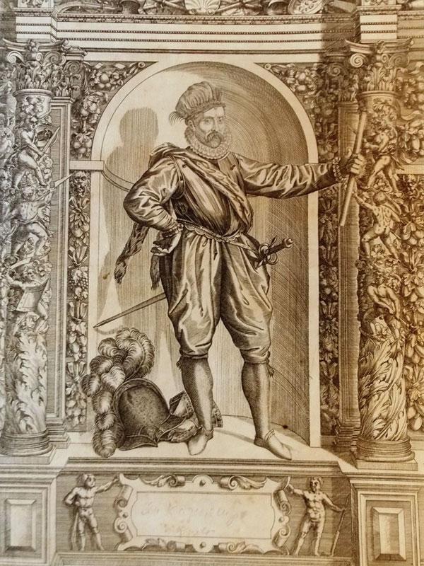Иоганн Казимир Пфальц-Зиммернский (1543— 1592), пфальцграф Рейнский, четвёртый сын курфюрста Фридриха III Благочестивого. В1567году успешно помогал гугенотам; в1575и1576годах сражался во Франции, а в1578году — вНидерландах. <p>Знаменитое издание Шренка фон Нотцинга. Armamentarium heroicum 1603год. Показаны редкие образцы рыцарских доспехов иоружия  XV иXVIвеков, которые при-надлежали прославленным  императорам, королям, герцогам ипр.</p><p> Художники иГраверы: Доминик Кустос (1560-1612), фламандский художник, печатник игравер намеди, который работал наслужбе императора Рудольфа II вПраге. Гравировал порисункам  Джованни Баттиста Фонтана (1541-1587).</p><i> Общий размер — 33,5×48см. Размер изображения — 29×42,5см </i>